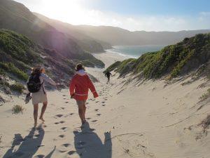 hiking on a remote sandy beach