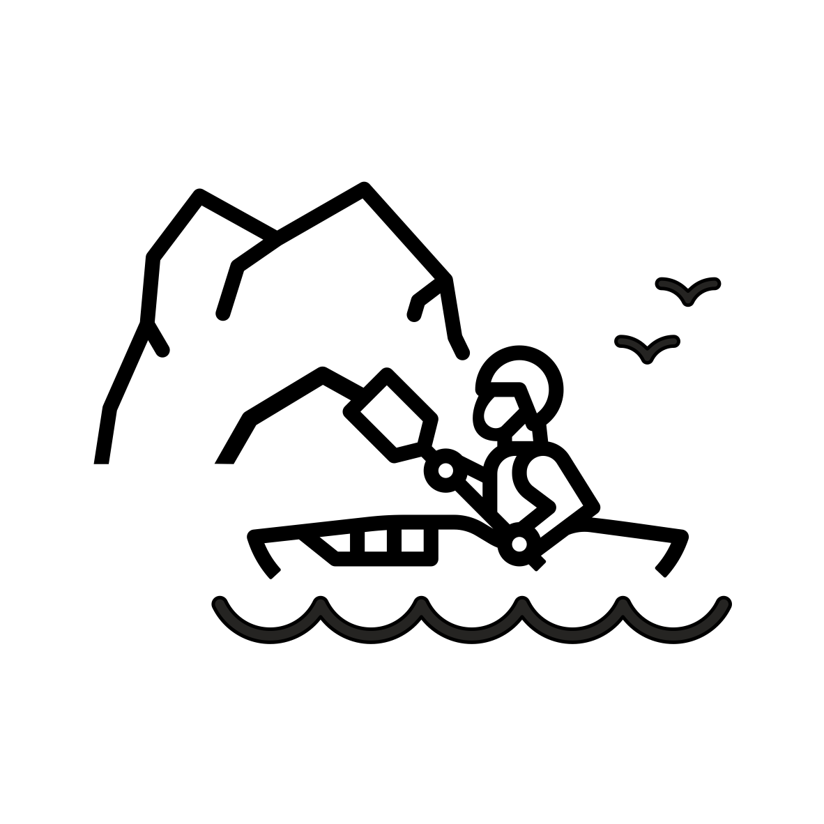 Kayaking into sea caves