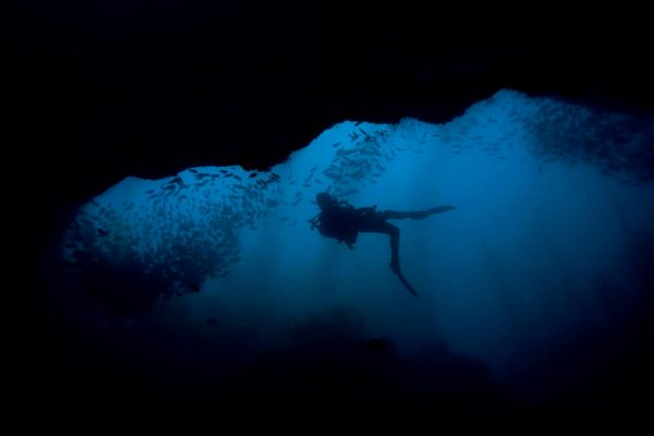 diving into sea caves